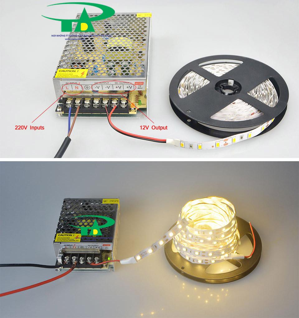 Hướng dẫn cách đấu nối Nguồn tổng camera 12v 10A nhỏ loại tốt, giá rẻ, đủ ampe, nguonled.vn