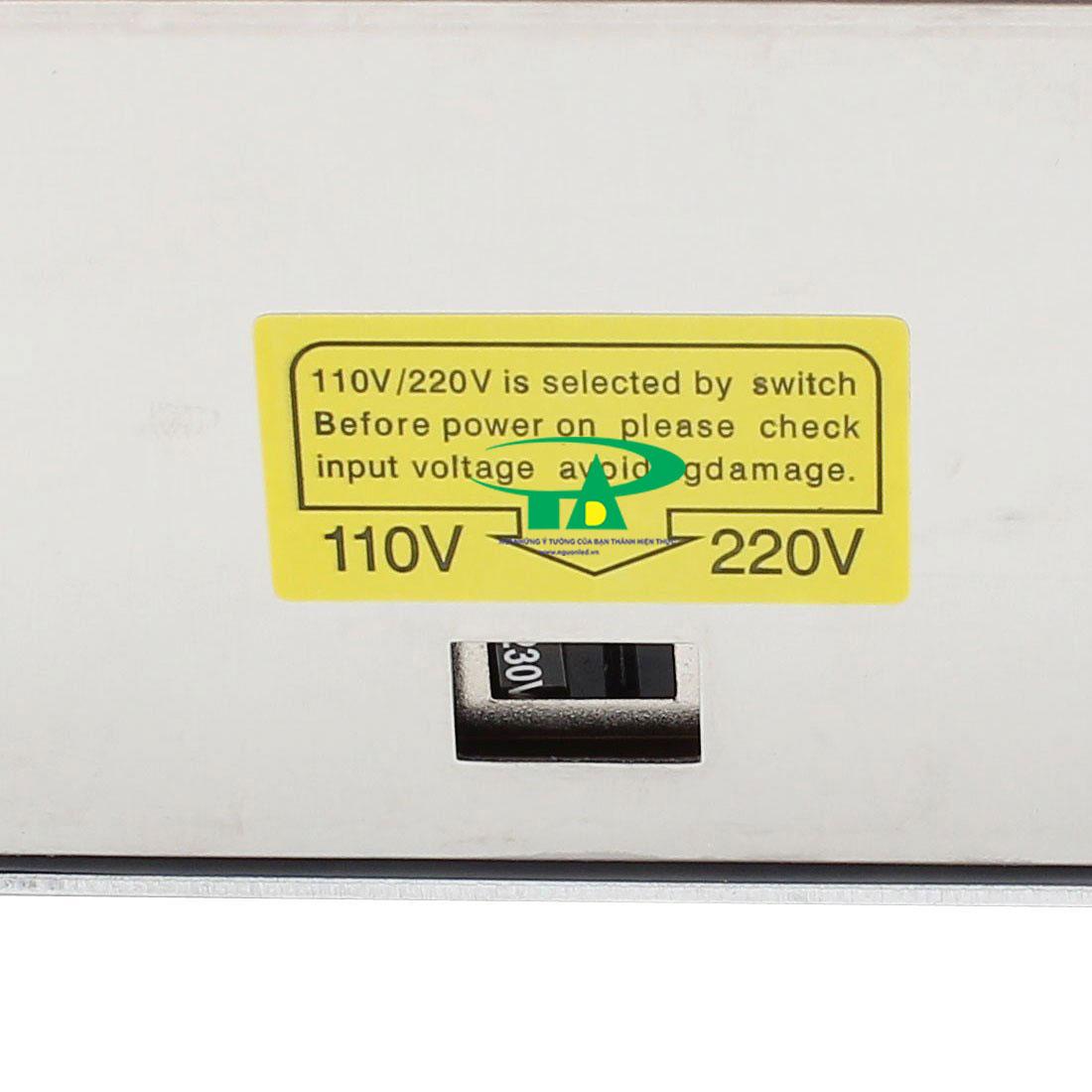 Nút điều chỉnh điện 110V chuyển sang 220V và ngược lại trong bộ nguồn 24V 20A