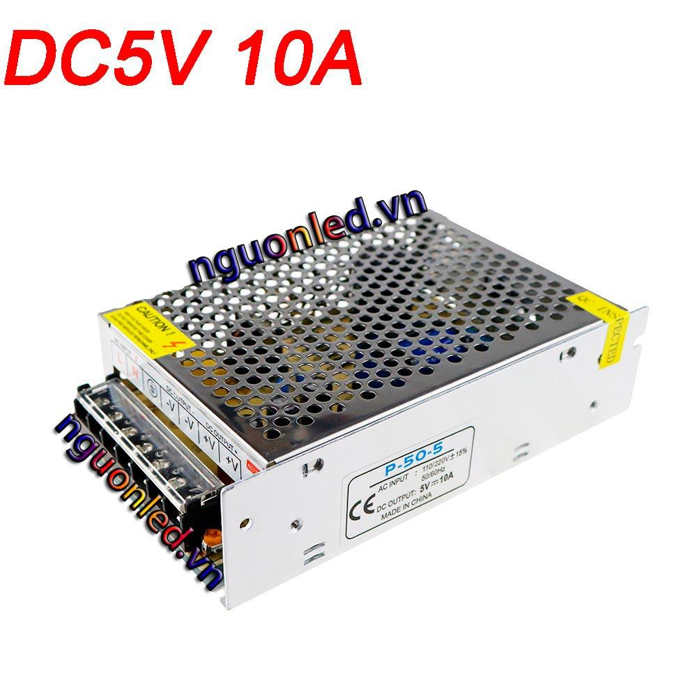 Nguồn 5V 10A loại tốt, giá rẻ, chất lượng, đủ Ampe, BH 1 năm, dùng cấp nguồn 5V cho đèn led F8, F5, P10, camera, bơm mini, tự động hóa