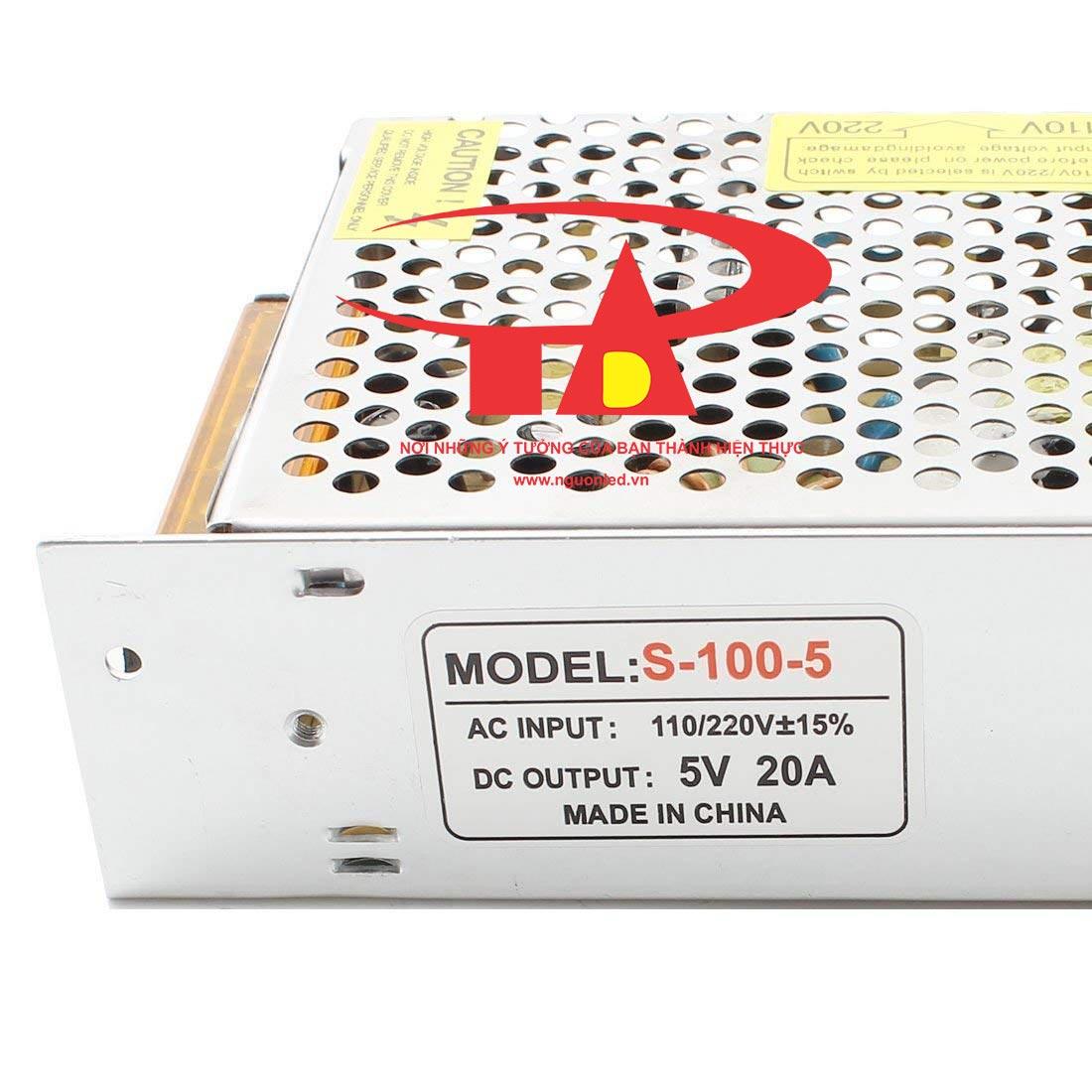 Bộ Nguồn 5V 20A loại tốt, giá rẻ, chất lượng, đủ ampe, dùng cho tự động hóa, camera, đèn led, nguonled.vn