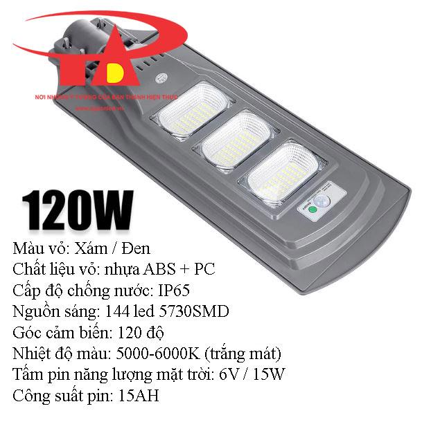 đèn đường năng lượng mặt trời 120w chiếu sáng công trình