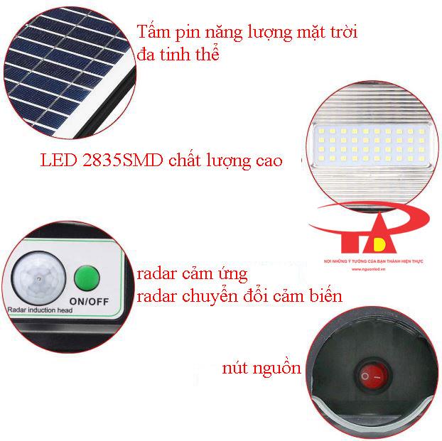 cấu tạo đèn đường năng lượng mặt trời 40w giá rẻ