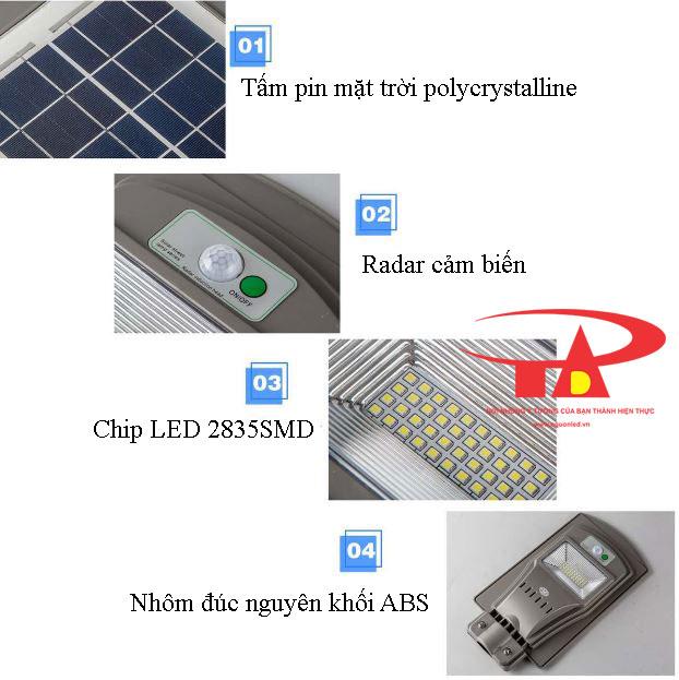 cấu tạo của đèn đường năng lượng mặt trời 60w dễ lắp đặt