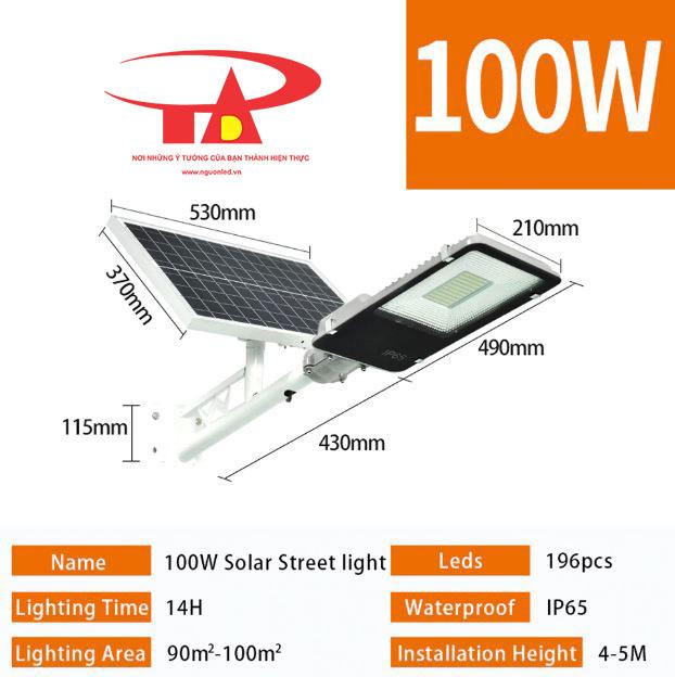 đèn đường năng lượng mặt trời 100w giá rẻ, loại tốt