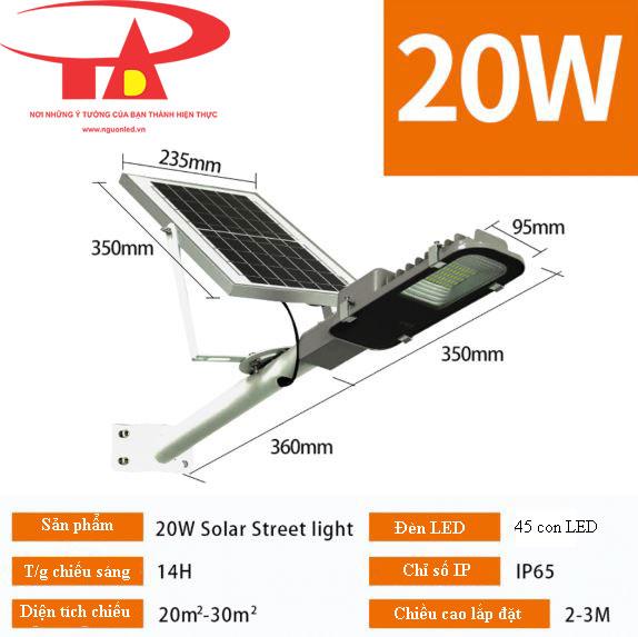 đèn đường năng lượng mặt trời 20w hiệu suất tốt