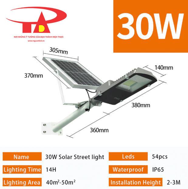 đèn chiếu đường năng lượng mặt trời 30w chiếu sáng công viên, kho bãi