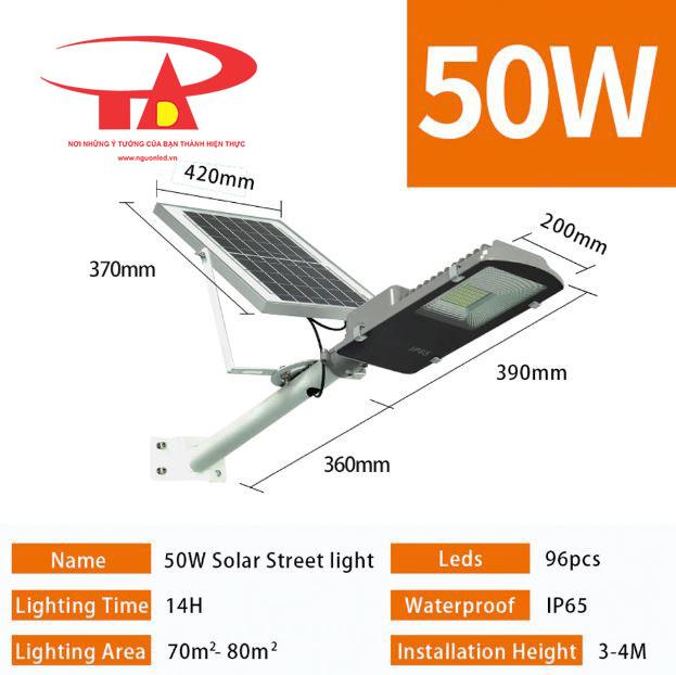 đèn đường led năng lượng mặt trời 50w đủ công suất