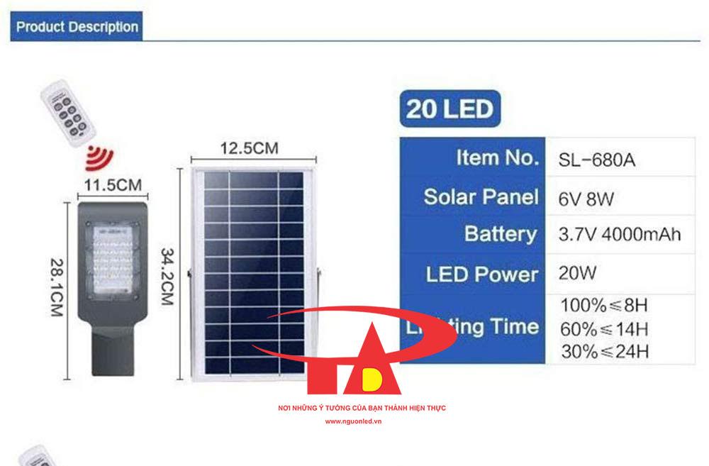 đèn led năng lượng mặt trời 20w chiếu sáng đường phố