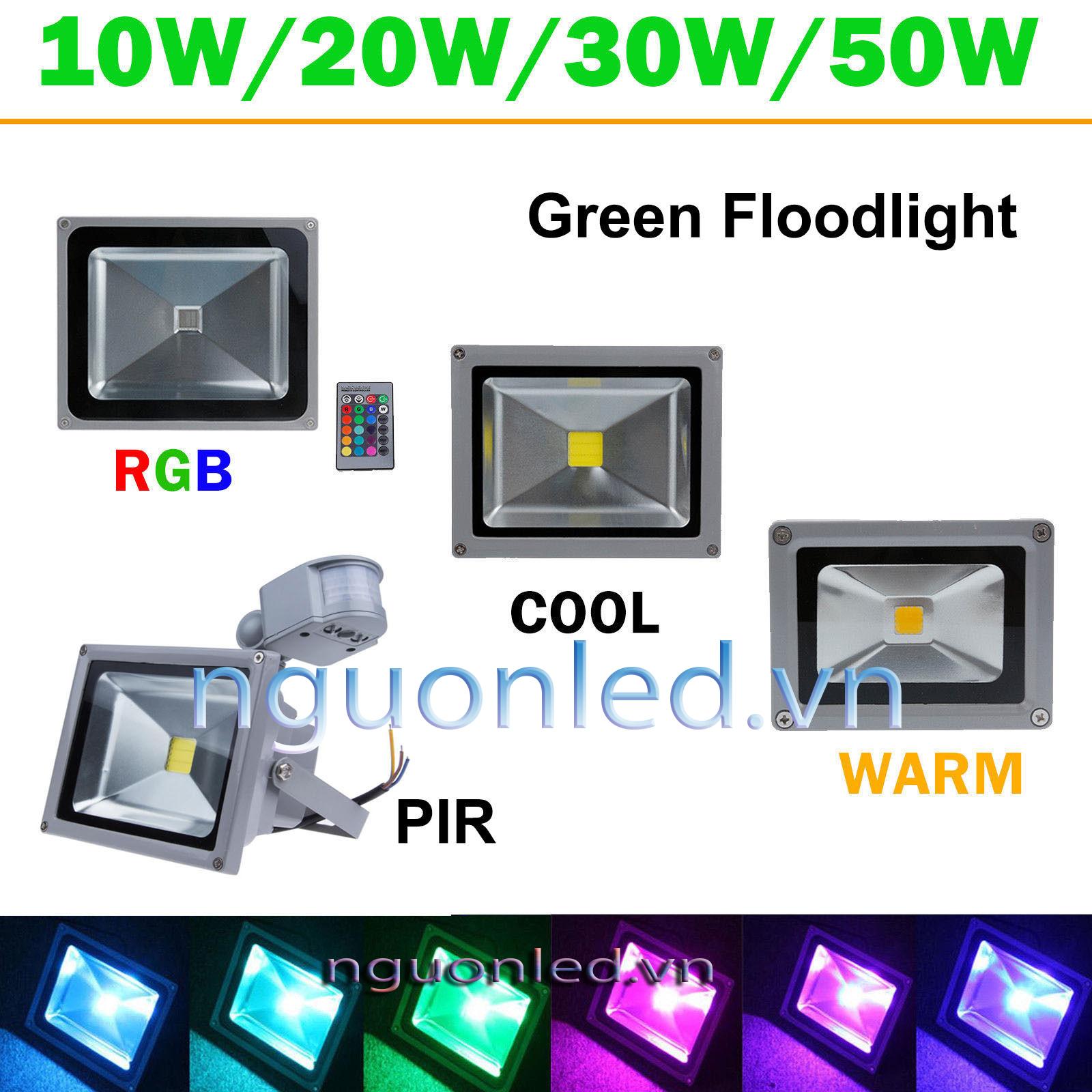 Đèn pha 10W đổi màu, loại tốt, bảo hành 2 năm mua tại nguonled.vn