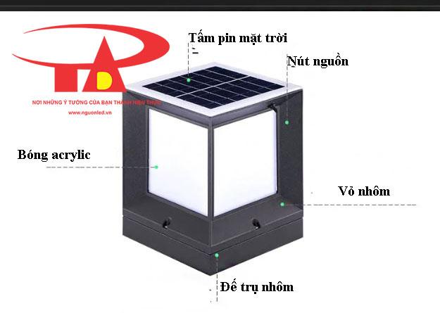 cấu tạo đèn trụ cổng năng lượng mặt trời giá rẻ, loại tốt