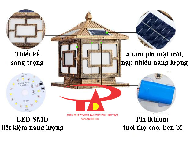 ưu điểm đèn trụ cổng năng lượng mặt trời chống thấm nước