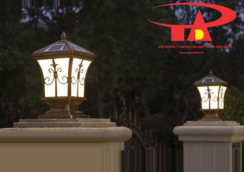đèn trụ cổng năng lượng mặt trời chiếu sáng mạnh, tiết kiệm điện