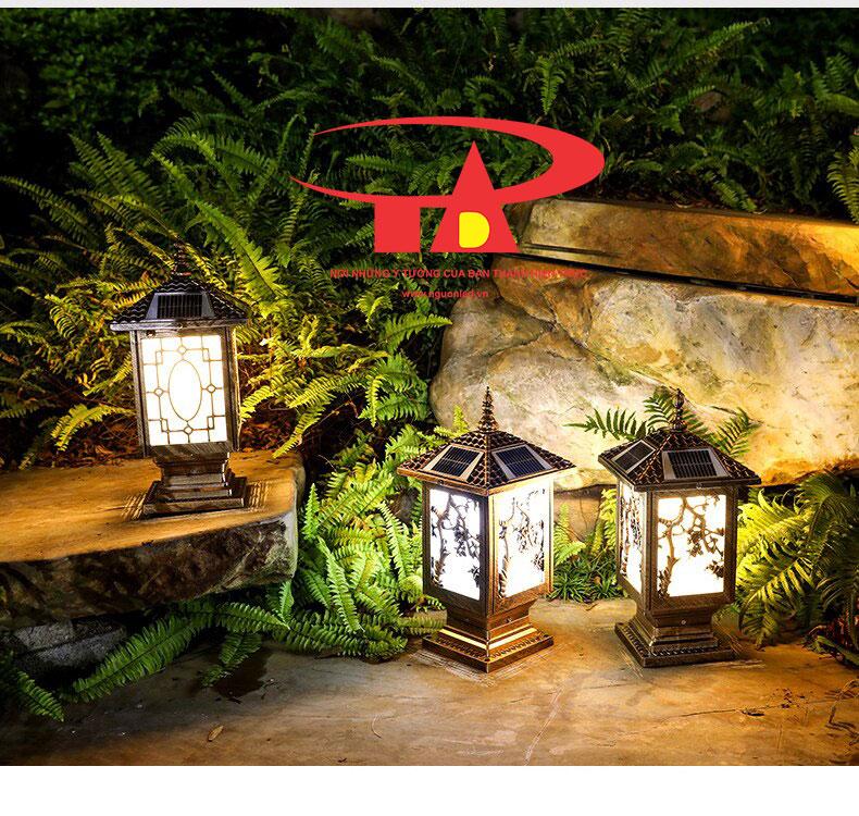 đèn trụ cổng năng lượng mặt trời trang trí sân vườn ngoài trời