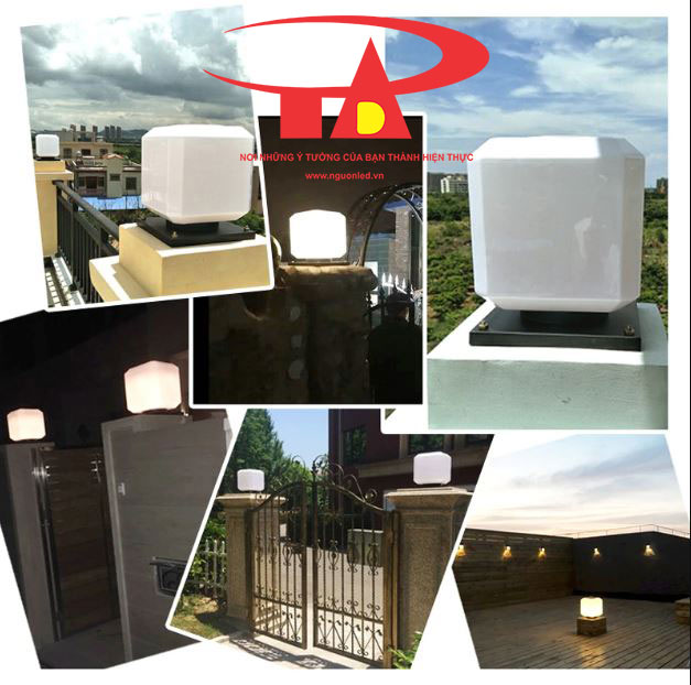 đèn trụ cổng NLMT ứng dụng chiếu sáng khuôn viên