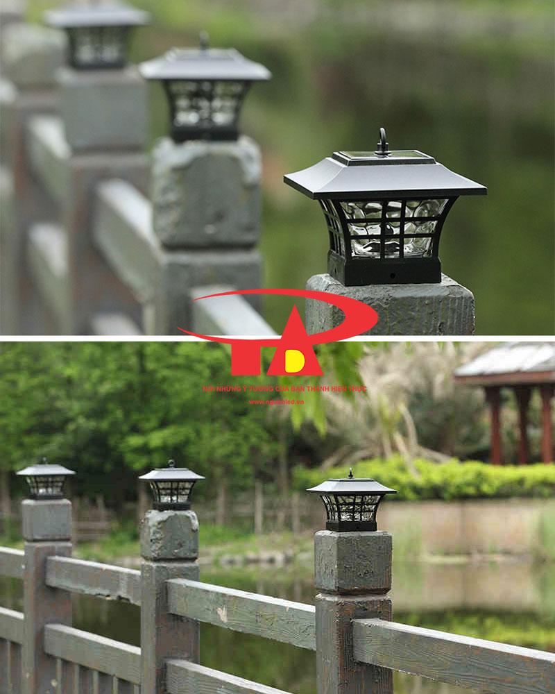đèn trụ cổng năng lượng mặt trời chiếu sáng lối đi, khuôn viên