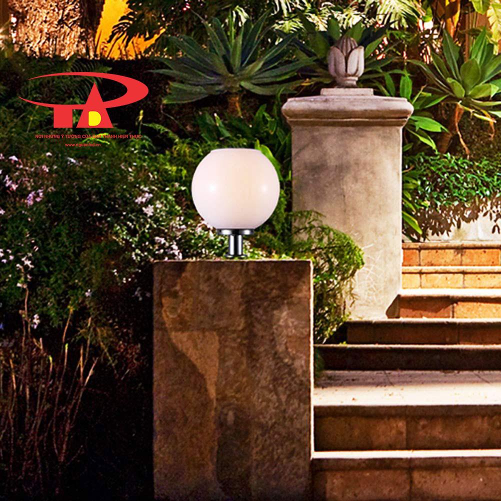 đèn cổng trụ năng lượng mặt trời chiếu sáng khuôn viên, lối đi
