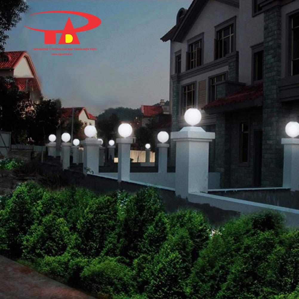 đèn cổng trụ năng lượng mặt trời chiếu sáng sân vườn, khuôn viên ngoài trời