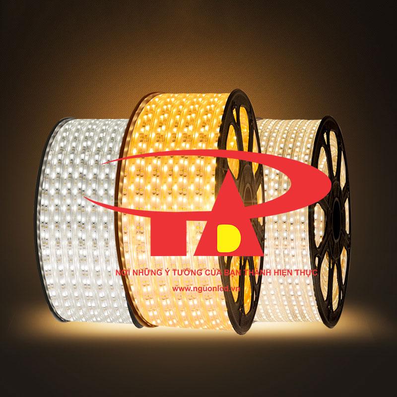 Led dây 220V dài 100m 5050 loại tốt dùng để trang trí ngoài trời, led cuộn 100 dùng trang trí quấn gốc cây, hắt trần, nguonled.vn