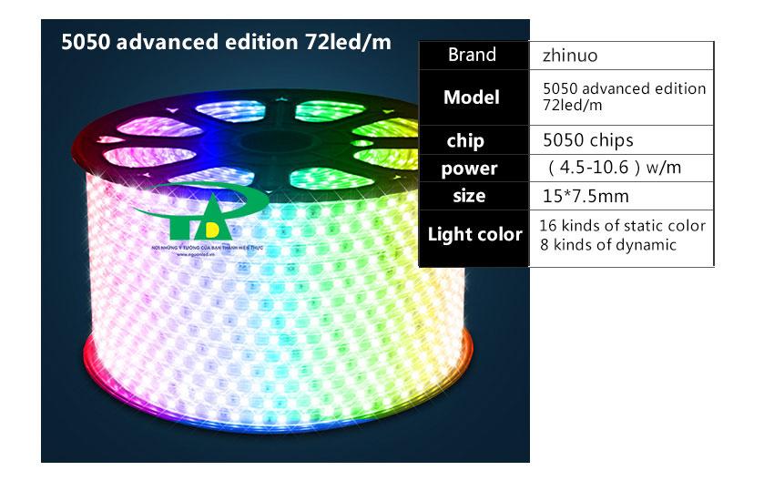 Đèn led dây 5050 đủ màu cuộn 100m 220V loại tốt dùng chiếu sáng nội thất, ngoài trời, phòng karaoke, quán bar, gốc cây