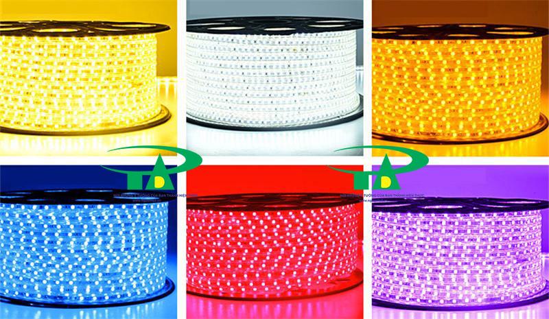 Đèn led dây 5050 màu đỏ cuộn 100m 220V loại tốt, siêu sáng. Led dây dùng chiếu sáng biển hiệu quảng cáo, trang trí nội thất, hắt trần, quán cà phê tại tphcm
