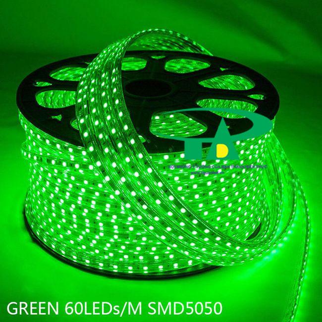 Phân phối sỉ đèn led dây 5050 màu xanh lá dùng chiếu sáng ngoài trời, hắt trần