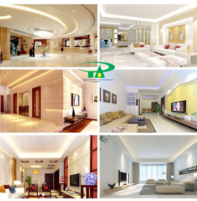 Ứng dụng của đèn led dây 5050 dùng hắt trần thạch cao, phòng khách, văn phòng, khách sạn, trung tâm thương mại