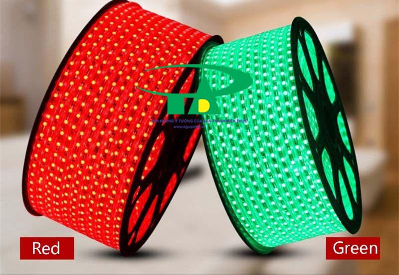 Phân phối sỉ đèn led dây 5050 màu xanh lá, đỏ, dùng trang trí nội thất, chiếu sáng ngoài trời, hồ bơi, hắt trần thạch cao, quầy bar, karaoke