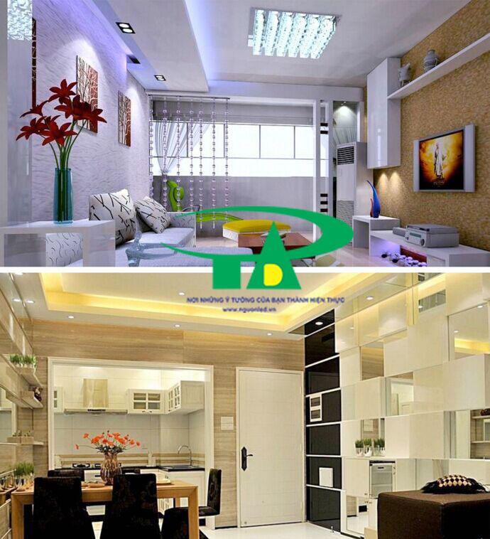 Ứng dụng của đèn led dây 5050 dùng hắt trần thạch cao, phòng khách