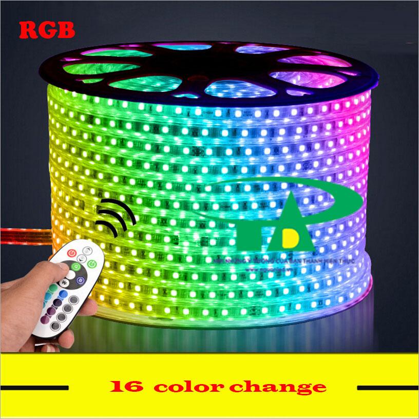 Đèn led dây 5050 đổi màu, RGB, cuộn 100m 220V loại tốt, siêu sáng