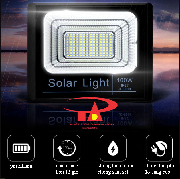 đèn led pha NLMT 100w chiếu sáng bãi xe