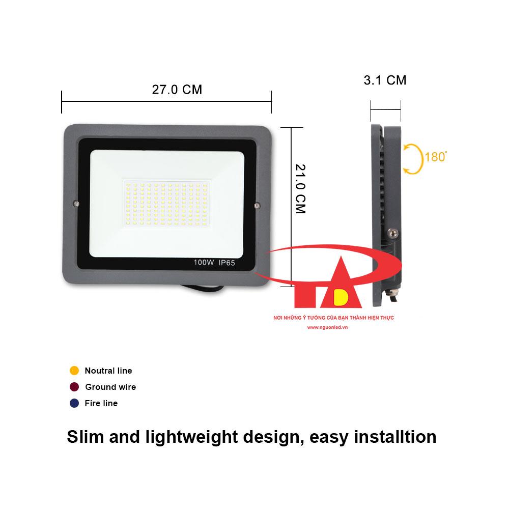 đèn led pha năng lượng mặt trời 100w hiện đại, tiết kiệm điện