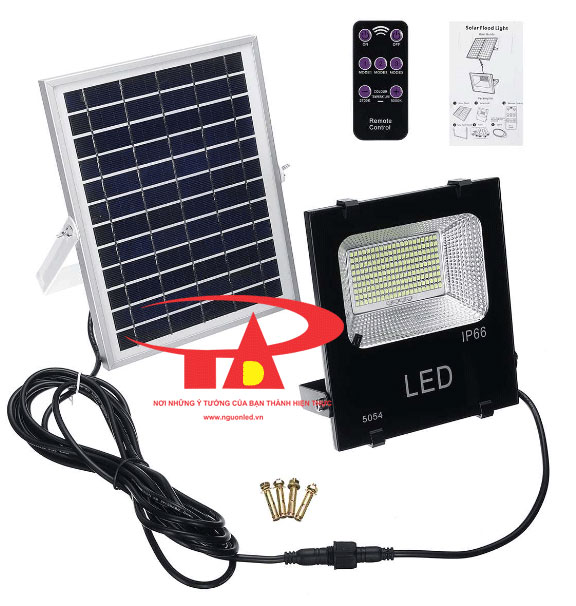 đèn pha led năng lượng mặt trời solar light 50w chiếu sáng ngoài trời