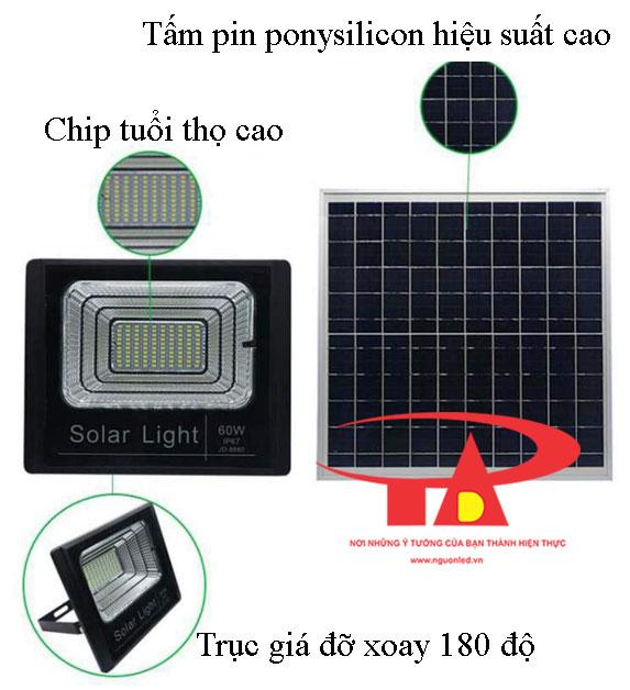 ưu điểm của đèn led pha năng lượng mặt trời 60w loại tốt, giá rẻ