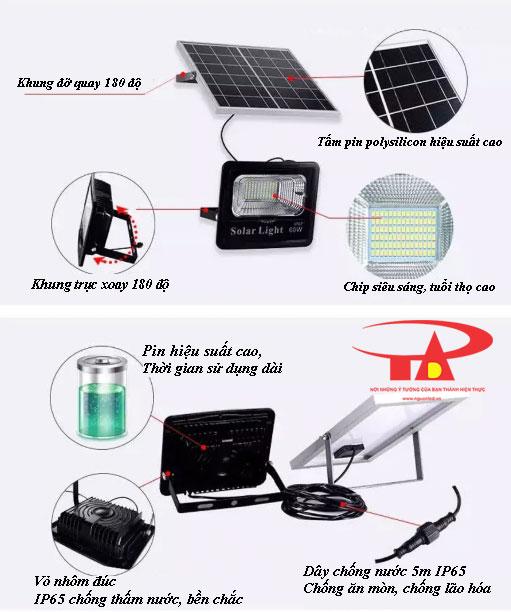 ưu điểm đèn pha led chạy bằng năng lượng mặt trời 60w chiếu sáng ngoài trời