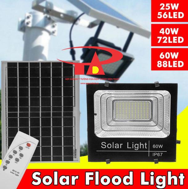 đèn pha led chiếu sáng sân vườn bằng năng lượng mặt trời 60w hàng nhập khẩu