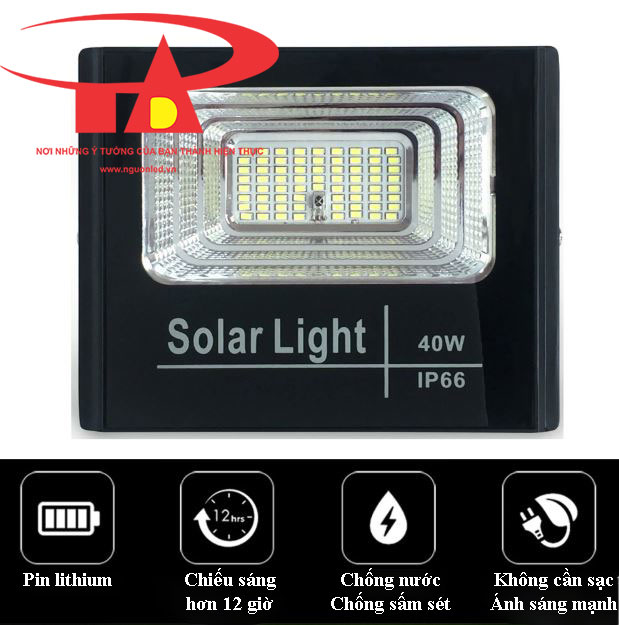 đèn led pha năng lượng mặt trời 40w siêu sáng, loại tốt
