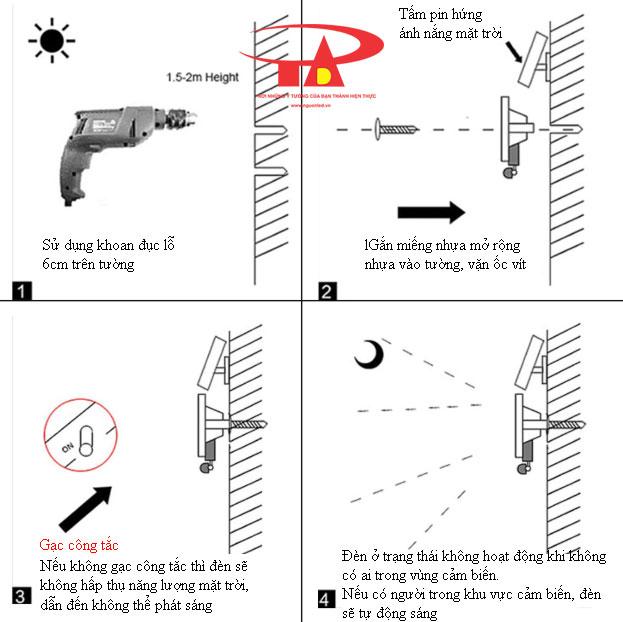 hướng dẫn lắp đặt tấm pin và đèn led pha năng lượng mặt trời