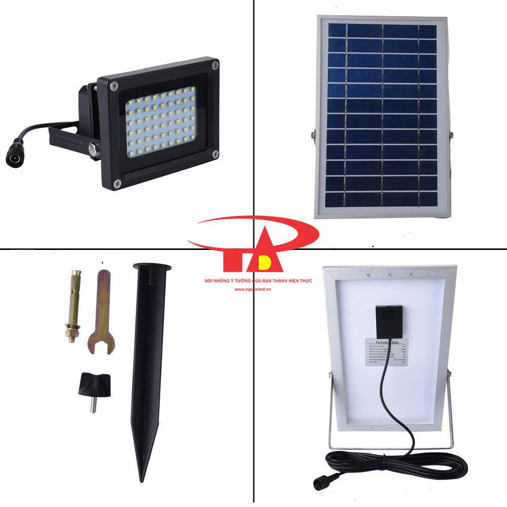 hệ thống đèn led pha chiếu sáng sân vườn năng lượng mặt trời 54 led