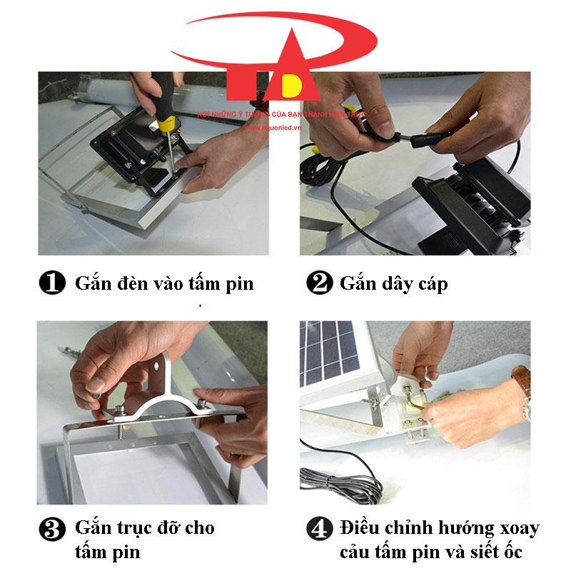 hướng dẫn lắp đặt đèn led pha và tấm pin mặt trời chống thấm nước