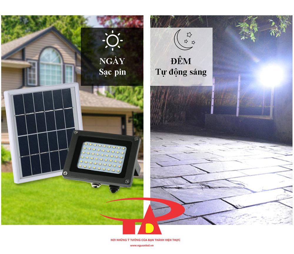 nguyên tắc hoạt động của đèn led pha năng lượng mặt trời 54 led