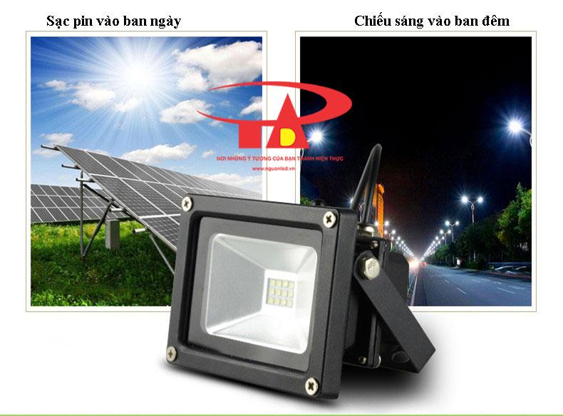 đèn led pha năng lượng mặt trời 25w hoạt động thông minh