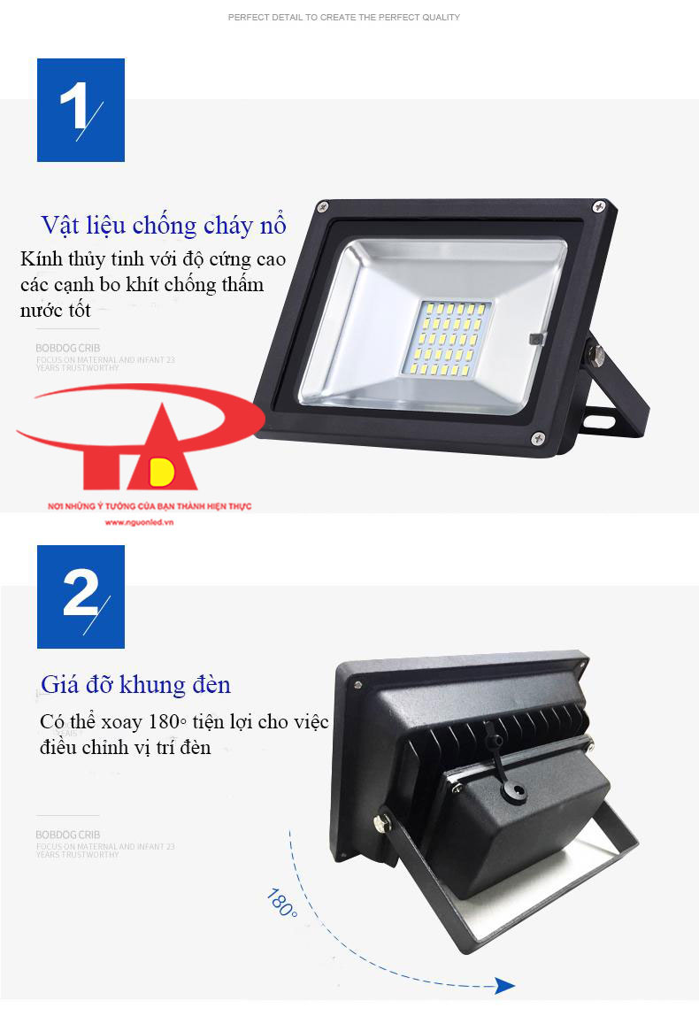 ưu điểm đèn led pha năng lượng mặt trời 100w chiếu sáng ngoài trời
