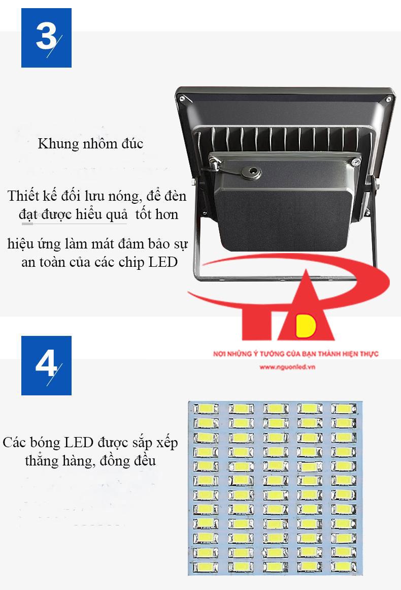 ưu điểm đèn led pha năng lượng mặt trời 100w chống thấm nước