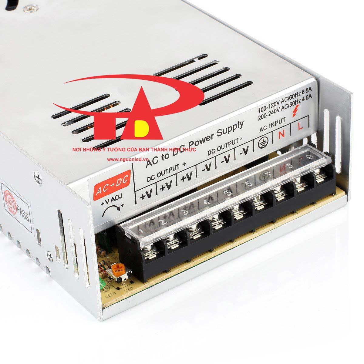 Nguồn 24V 15A loại tốt, chất lượng, đủ ampe, giá rẻ, có quạt dùng cho đèn led, tự động hóa, camera, nguonled.vn