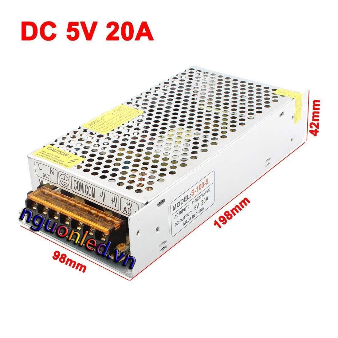 Nguồn 5V 20A loại tốt, giá rẻ, chất lượng, đủ ampe, dùng cho tự động hóa, camera, đèn led, nguonled.vn