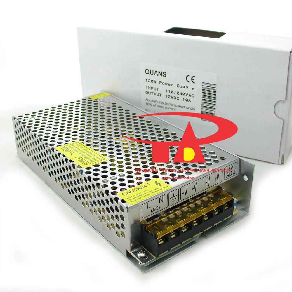 Nguồn tổng 12V 10A 2 tụ, loại tốt, giá rẻ, dùng cấp nguồn cho camera, đèn led, nguonled.vn