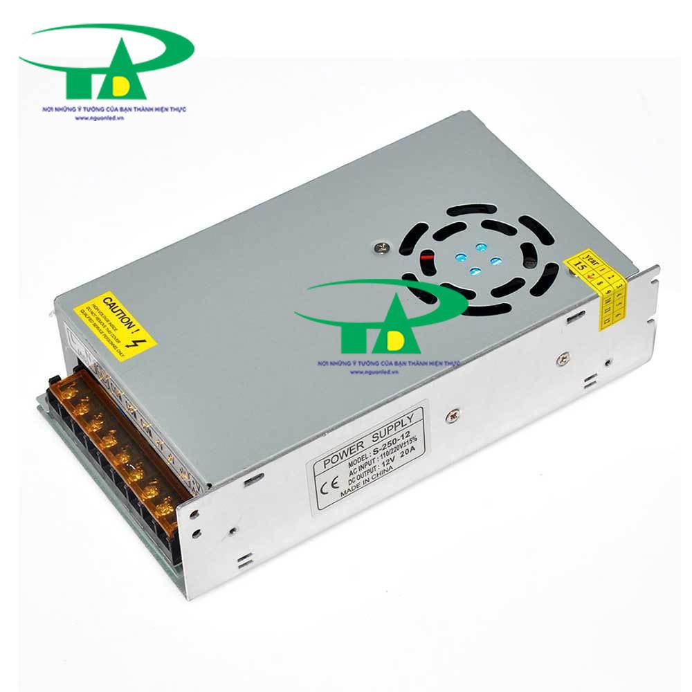 Nguồn DC12V 20A có quạt, loại tốt, giá rẻ, đủ ampe, mua tại nguonled.vn