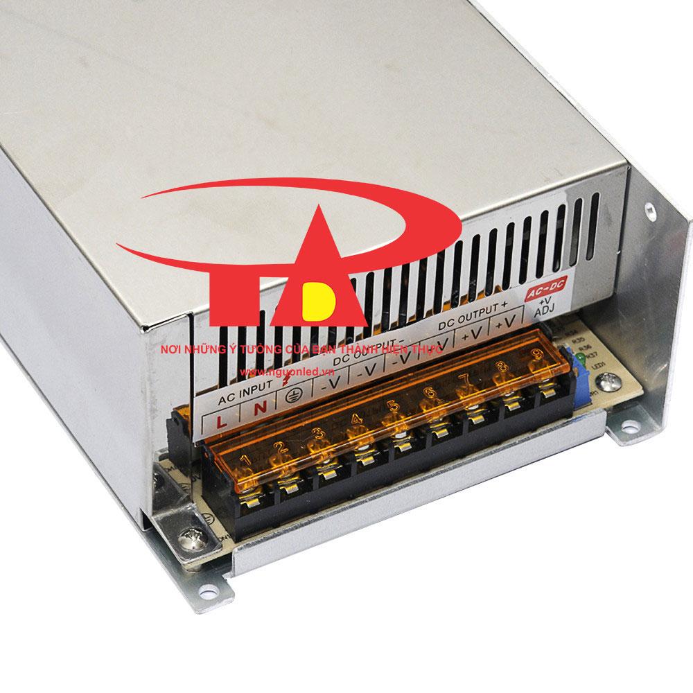 Nguồn led 12V 40A loại tốt, đủ ampe, giá rẻ, chất lượng, có quạt, dùng cho camera, đèn led, nguonled.v